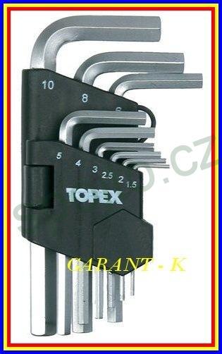 Sada klíčů IMBUS 1,5-10mm 9ks Topex