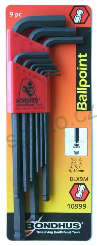 Sada klíčů IMBUS 1,5-10mm 9ks BONDHUS s kuličkou