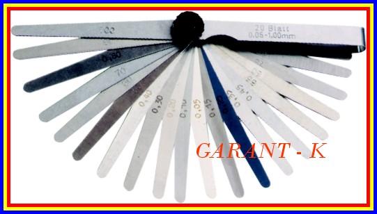 Měrky spárové 20 listů 0,05 - 1mm XTline